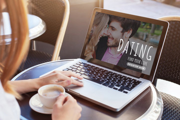Woman using online dating app 2019